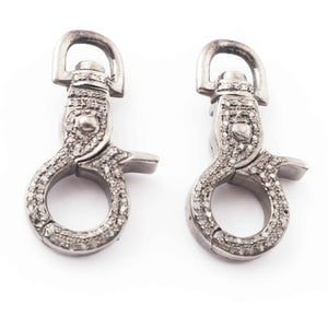 1 PC Antique Finish Pave Diamond Lobsters Over 925 Sterling Silver - Double Sided Diamond Clasp 31mmx14mm LB010