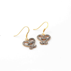 1 Pair Antique Finish Pave Diamond  Fancy Heart  Charm Earrings - 925 Sterling Vermeil - 15mm-16mmx8mm- ED576