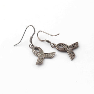 1 Pair Antique Finish Pave Diamond Bow Tie  Charm Earrings - 925 Sterling Silver - 20mmx17mm-16mmx7mm ED582