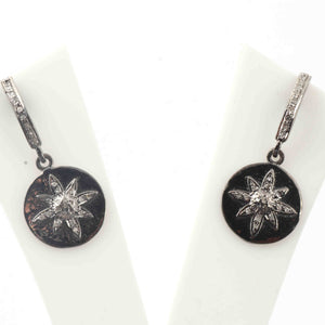 1 Pair Pave Diamond Flower With Round Earrings - 925 Sterling Silver- 19mmx16mm-19mmx2mm ED568