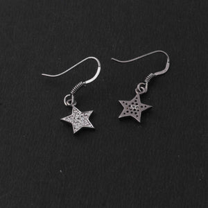 1 Pair Antique Finish Pave Diamond  Star Shape  Earrings - 925 Sterling Silver- 13mmx10mm-16mmx8mm ED573