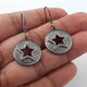 1 Pair  Pave Diamond Star With Round Earrings - 925 Sterling Silver- 20mmx18mm-16mmx7mm ED553
