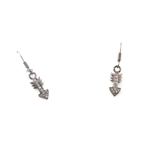 1 Pair Antique Finish Pave Diamond Arrow Charm Earrings - 925 Sterling Silver- 17mmx6mm-16mmx8mm ED540
