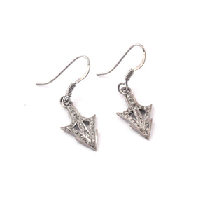 1 Pair Antique Finish Pave Diamond  Arrow Earrings - 925 Sterling Silver - 21mmx11mm-16mmx7mm ED580