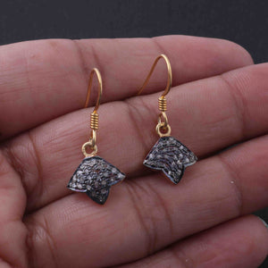 1 Pair Antique Finish Pave Diamond  Fancy Earrings - 925 Sterling Vermeil - 13mmx12mm-16mmx7mm ED543