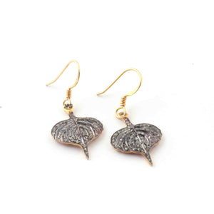 1 Pair Antique Finish Pave Diamond  Leaf Charm Earrings - 925 Sterling Vermeil - 22mmx16mm-16mmx8mm ED542