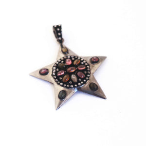 1 Pc Antique Finish Pave Diamond With Multi Tourmaline Designer Star Pendant - 925 Sterling Silver- Necklace Pendant PD911