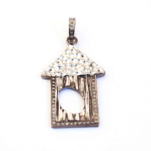 1 Pc Antique Finish Pave Diamond Designer Hut & Center Oval Pendant - 925 Sterling Silver- Necklace Pendant 47mmx26mm PD430