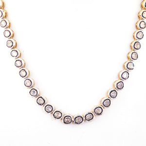 Pave Diamond Genuine Rose Cut Diamond Necklace Chain - 925 Sterling Silver- Necklace With Lock 8mm 21 Inches PD1146