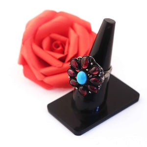 1 PC Beautiful Pave Diamond Ruby Ring Center In Turquoise - 925 Sterling Silver - Gemstone Ring Size -7.25 RD099