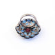 1 PC Beautiful Pave Diamond Turquoise Ring Center In Ruby - 925 Sterling Silver - Gemstone Ring Size -7 RD040