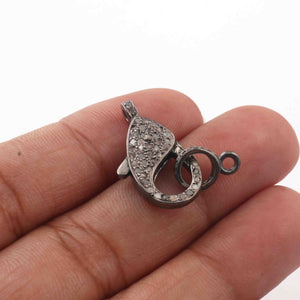 1 PC Antique Finish Pave Diamond Lobsters Over 925 Sterling Silver - Double Sided Diamond Clasp 21mmx11mm LB220