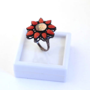 1 PC Beautiful Pave Diamond Coral Ring Center In Ethiopian Opal- 925 Sterling Silver - Gemstone Ring Size -10  RD239
