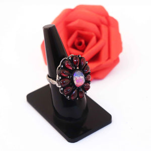 1 PC Beautiful Pave Diamond Ruby Ring Center In Ethiopian Opal- 925 Sterling Silver - Gemstone Ring Size -7.25 RD205