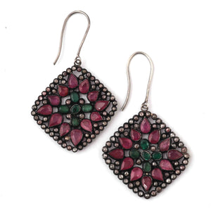 1 Pair Pave Diamond With Ruby & Emerald Designer Earring - Diamond Designer Earrings - 925 Sterling Silver 42mmx39mm  ED622
