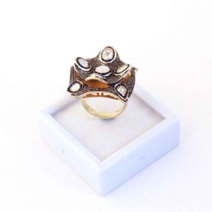 1 Pc Beautiful Pave Diamond - Rosecut Diamond Designer Ring - 925 Sterling Vermeil - Polki Ring Rd229
