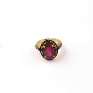 1 PC Beautiful Pave Diamond Ruby Ring - 925 Sterling Vermail- Gemstone Ring Size -6.5 RD004