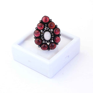 1 PC Beautiful Pave Diamond Ruby Ring Center In Ethiopian Opal - 925 Sterling Silver - Gemstone Ring Size -8 RD202