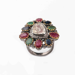 1 PC Beautiful Pave Diamond with Ruby, Emerald, Kyanite Center in Rose Cut Diamond Ring  - 925 Sterling Silver - Designer Polki Ring Size-8 RD032
