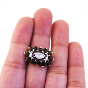 1 PC Black Onyx With Rosecut Diamond Ring - 925 Sterling Vermeil - Polki Diamond Ring Size- 6.25 RD321