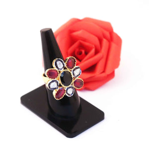 1 PC Beautiful Pave Diamond With Rose Cut Diamond Ring -Ruby & Black Onyx Ring - 925 Sterling Vermeil- Gemstone Ring Size-7.5 RD324