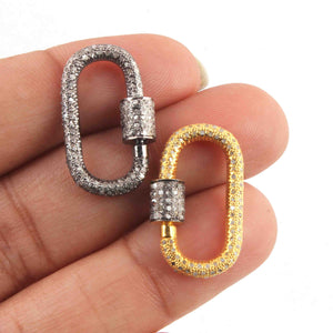1 Pc Pave Diamond Rounded Rectangle Lock- 925 Sterling Silver- Yellow Gold - Diamond Lock with Screw On Mechanism  PD1633