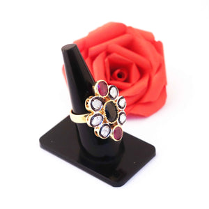 1 PC Beautiful Pave Diamond Rose cut diamond , Blue Sapphire Ring Center In Ruby- 925 Sterling Silver - Gemstone Ring Size -7.75 RD323