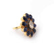 1 PC Beautiful Pave Diamond with Kyanite  Center in Rose Cut Diamond Ring  - 925 Sterling Vermeil - Polki Ring Size-8.5 RD080
