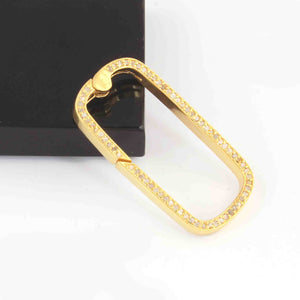 1 Pc Pave Diamond Rounded Rectangle Lock- 925 Sterling Silver- Yellow Gold - Diamond Lock  34mmx17mm PD1634