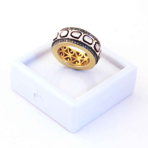 1 PC Beautiful Rosecut Diamond Round Ring Over 925 Sterling Vermeil- Polki Ring - Band Ring-Handmade Jewelry-Ring Size:6 RD212