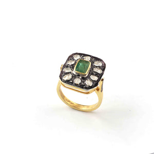 1 PC Beautiful Pave Diamond with Rose Cut Diamond Center in Emerald Ring  - Sterling Vermeil- Polki Ring Size-8 RD035