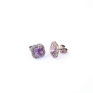 1 Pair Pave Diamond Beautiful Pink Amethyst Stone Stud -- 925 Sterling Silver Flower Shape Stud Earring 14mmx14mm ED237