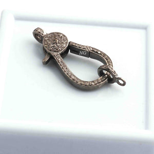 1 Pc Pave Diamond Lobsters Clasp Antique Finish Oxidized Sterling Silver - Double Sided Diamonds 29mmx14mm DL007