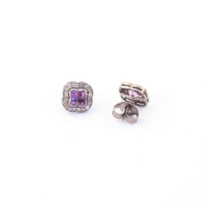 1 Pair Pave Diamond Beautiful Pink Amethyst Stone Stud -- 925 Sterling Silver Flower Shape Stud Earring 12mmx12mm ED238