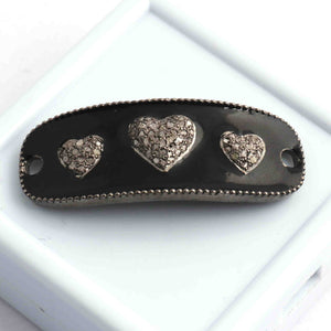 1 Pc Pave Diamond Bakelite Heart Design Bracelet Connector -Pave Diamond Link - 925 Sterling Silver -Diamond Connector 40mmx15mm BD006
