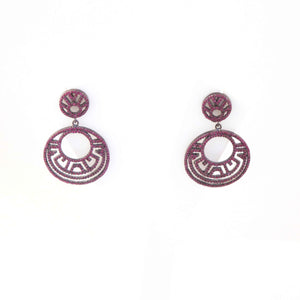 1 Pair Antique Finish Pave Diamond with Ruby Round Earrings - 925 Sterling Silver - 14mmx12mm-29mmx26mm ED074