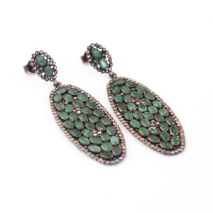 1 Pair Pave Diamond With Emerald Oval Earring - Diamond Oval Earrings - 925 Sterling Silver 55mmx21mm-18mmx10mm ED249