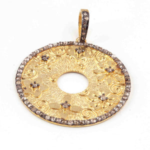 1 Pc Antique Finish Pave Diamond Round Designer Pendant - Yellow Gold - Necklace Pendant 37mmx34mm PD1704