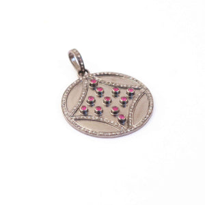 1 Pc Pave Diamond With Ruby Round Designer Pendant - 925 Sterling Silver -Necklace Pendant 39mmx35mm PD1374