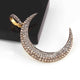 1 Pc Pave Diamond Crescent Moon Charm Pendant Over 925 Sterling Silver 38mmX7mm PD345
