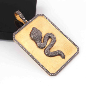 1 Pc Pave Diamond Designer 925 Sterling Vermeil Snake Pendant - Rectangle Snake Pendant 42mmx32mm PD1680