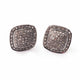 1 Pair Pave Diamond Stud Earrings - 925 Sterling Silver Square Earrings With Back Stoppers 13mm ED175
