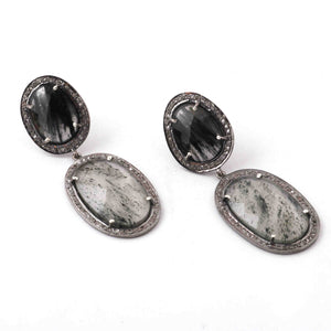 1 Pair Beautiful Pave Diamond  Black Rutile  Fancy Earring - 925 Sterling silver  32mmx20mm-21mmx16mm ED304