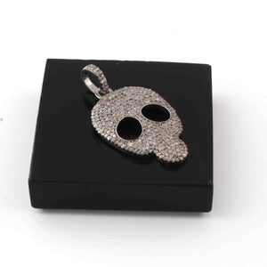 1 Pc Antique Finish Pave Diamond  Skull Pendant - 925 Sterling Silver - Diamond Pendant 28mmx18mm RRPD020