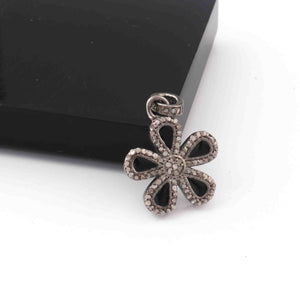 1 Pc Pave Diamond Bakelite Flower Charm Pendant Over 925 Sterling Silver - 18mmx15mm RRPD018