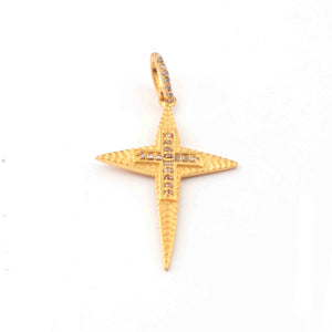 1 Pc Antique Finish Pave Diamond Designer Cross Pendant - Yellow Gold - Diamond Pendant 36mmx23mm RRPD012