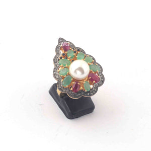 1 PC Beautiful Pave Diamond Center In Pearl Ring -Emerald & Ruby Ring - 925 Sterling Vermeil- Gemstone Ring Size-6.75 RD244