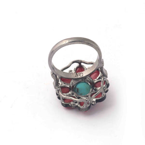 1 PC Beautiful Pave Diamond Coral Ring Center In Turquoise - 925 Sterling Silver - Gemstone Ring Size -7.75 RD110