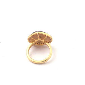 1 PC Pave Diamond With Rose Cut Diamond Heart Shape Ring - 925 Sterling Vermeil- Polki Ring Size-8.75 Rd006