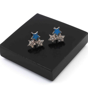 1 Pair Antique Finish Pave Diamond  Bakelite Star  Stud Earrings - 925 Sterling Silver- 10mm RRED012